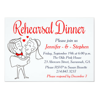 Red Rehearsal Dinner Cartoon Bride & Groom Card