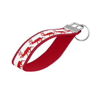 Red Reindeer / Caribou Silhouette Wrist Keychain