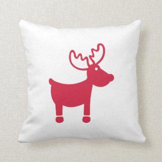 Red reindeer christmas throw pillow