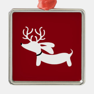 Red Reindeer Dachshund Dog Christmas Tree Ornament
