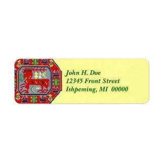Red Reindeer Folk Art style Return Address Labels