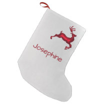 Red Reindeer Personalized Christmas Stockings