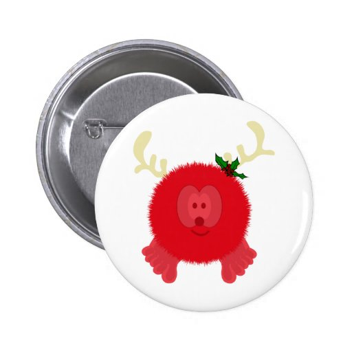 Red Reindeer Pom Pom Pal Button