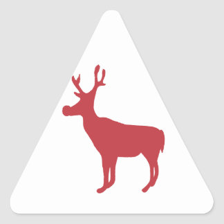 Red Reindeer Triangle Stickers