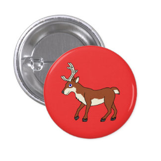 Red Reindeer with Antlers Button