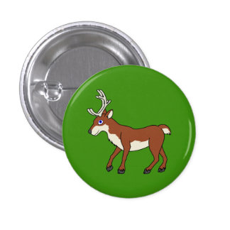 Red Reindeer with Antlers Pinback Button