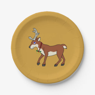 Red Reindeer with Jingle Bells & Christmas Holly Paper Plate