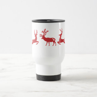 Red Reindeers Decorated by White Snowflakes Travel Mug