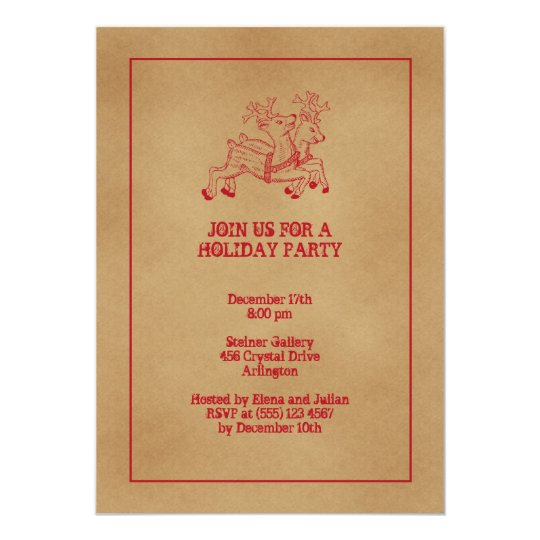 Red reindeers old fashion Christmas holiday party Card