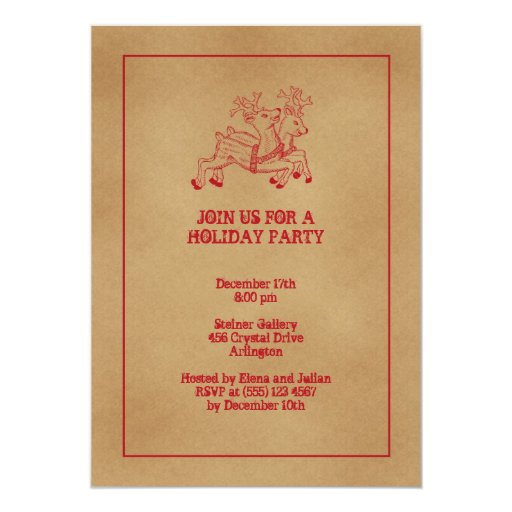 Red reindeers old fashion Christmas holiday party 5x7 Paper Invitation Card