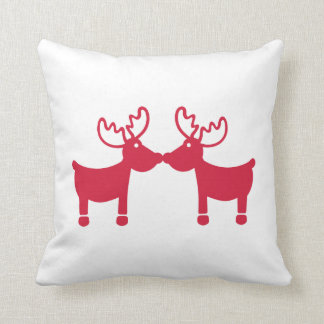 Red Reindeers Throw Pillow