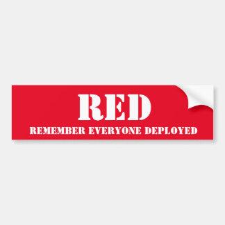 RED - Remember Everyone Deployed Car Bumper Sticker
