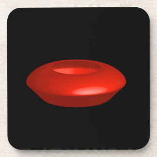 Red rendered 3d object drink coaster