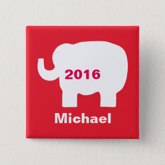 Red Republican Elephant 2016 Election Name Badge Pinback Button