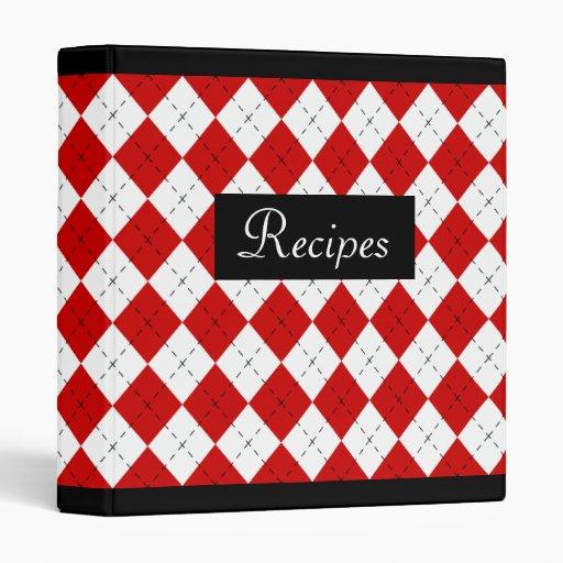 Red Retro Argyle Recipe Binder Scrapbook