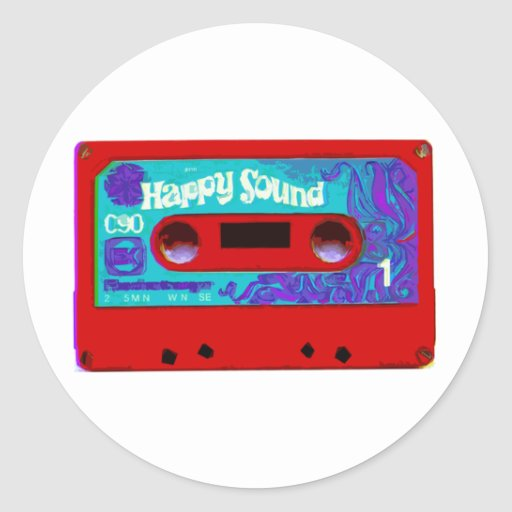 Red Retro Audio Cassette Tape Round Sticker