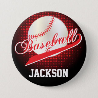 Red Retro Baseball Style Button