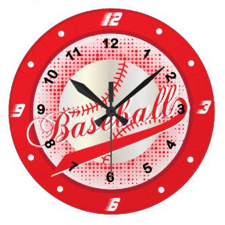 Red Retro Baseball Style Large Clock