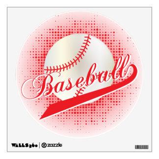 Red Retro Baseball Style Wall Sticker