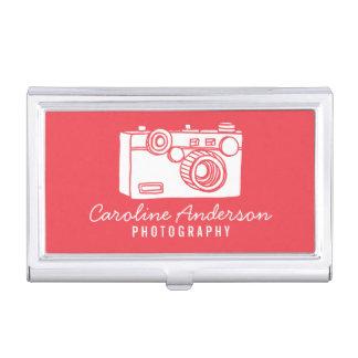Red Retro Camera Photographer Case For Business Cards