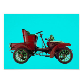 RED RETRO CAR / AUTO RESTORATION - AUTOMOTIVE blue Poster