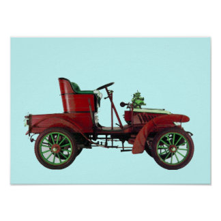 RED RETRO CAR / AUTO RESTORATION - AUTOMOTIVE POSTER