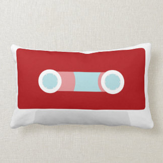 Red Retro Cassette Tape Lumbar Pillow