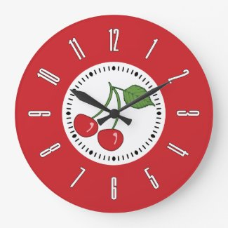 Red Retro Cherry Large Clock