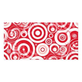 red_retro_circles customized photo card