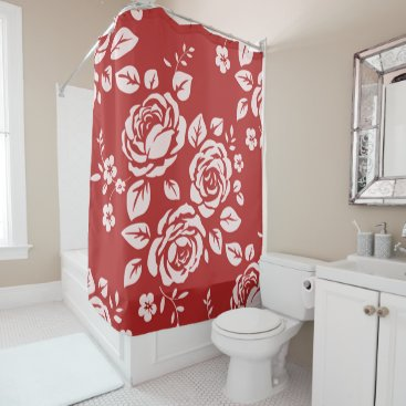 Professional Business Red_Retro_Floral(c) Bathroom_ Shower Curtain