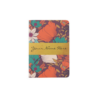 Red Retro Floral Vector Print | Gold Name Plate Passport Holder