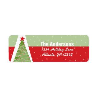 Red Retro Green Christmas Tree Return Address Label