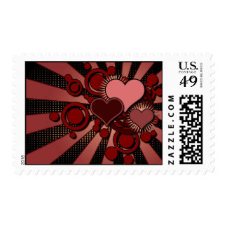 Red Retro Hearts Valentine's Day Postage Stamp