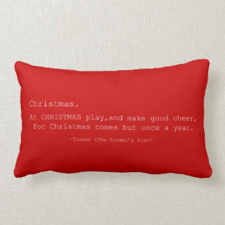 Red Retro Inspired Christmas Quote Lumbar Pillow