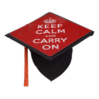 Red Retro Keep Calm and Carry On Graduation Cap Topper