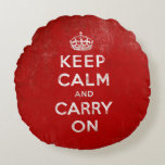 Red Retro Keep Calm and Carry On Round Pillow