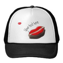 Red Retro Look Mouth Pattern Trucker Hat