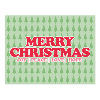 "Red Retro ""Merry Christmas"" Good Tidings Post Card"