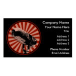Red Retro Microphone Emblem Business Card Template