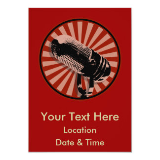 Red Retro Microphone Emblem 5x7 Paper Invitation Card