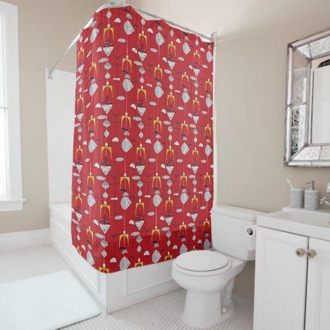 Red Retro Mid Century Modern Atomic !950's Shower Curtain