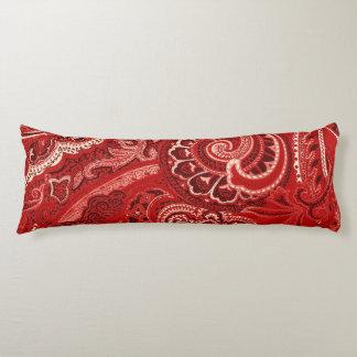 Red Retro Paisley Bandanna/Bandana Body Pillow
