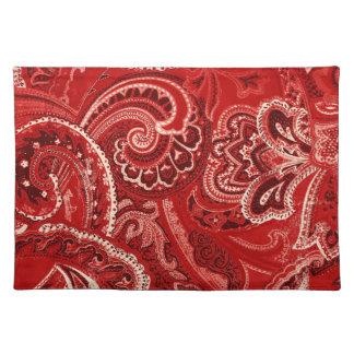 Red Retro Paisley Bandanna/Bandana Cloth Placemat