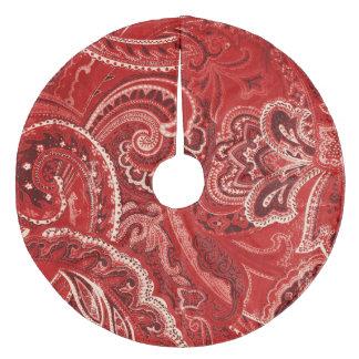 Red Retro Paisley Bandanna/Bandana Fleece Tree Skirt
