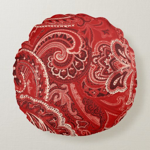 Red Retro Paisley Bandanna/Bandana Round Pillow