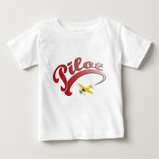 Red Retro Pilot with yellow Airplane Baby T-Shirt