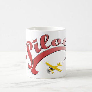 Red Retro Pilot with yellow Airplane Classic White Coffee Mug