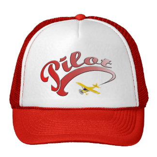 Red Retro Pilot with yellow Airplane Trucker Hat