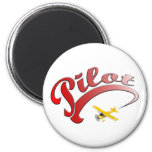 Red Retro Pilot with yellow Airplane 2 Inch Round Magnet