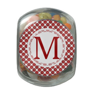 Red Retro Polka Dot Pattern Jelly Belly Candy Jar